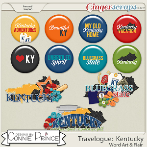 Travelogue Kentucky - Word Art & Flair Pack by Connie Prince
