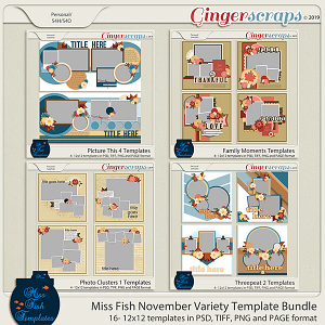 Miss Fish November Variety Template Bundle - 2019