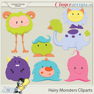 Doodles By Americo: Hairy Monsters Cliparts