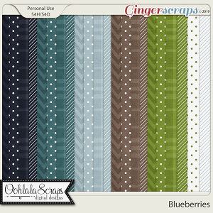 Blueberries Pattern Papers