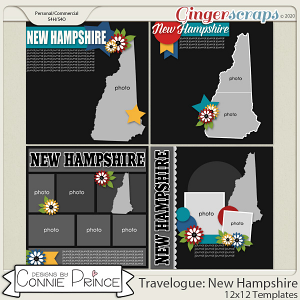 Travelogue New Hampshire - 12x12 Temps (CU Ok) by Connie Prince