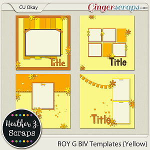 ROY G BIV TEMPLATES YELLOW by Heather Z Scraps