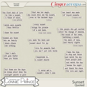 Sunset - Quoted by Connie Prince