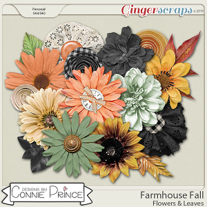 Farmhouse Fall - Flowers & Leaves by Connie Prince