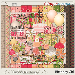 Birthday Girl Digital Scrapbook Kit By Dandelion Dust Designs