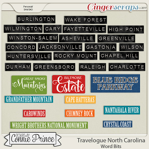 Travelogue North Carolina - Word Bits