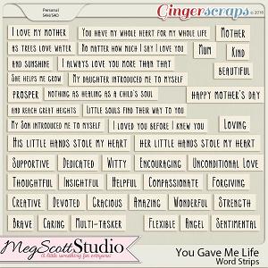 You Gave Me Life - Word Strips