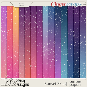 Sunset Skies: Ombre Papers by LDragDesigns