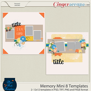 Memory Mini 8 Templates by Miss Fish
