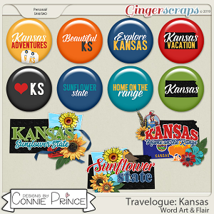 Travelogue Kansas - Word Art & Flair Pack by Connie Prince