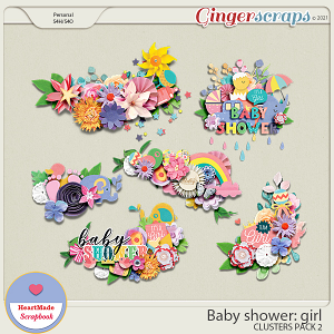 Baby shower: girl - clusters pack 2